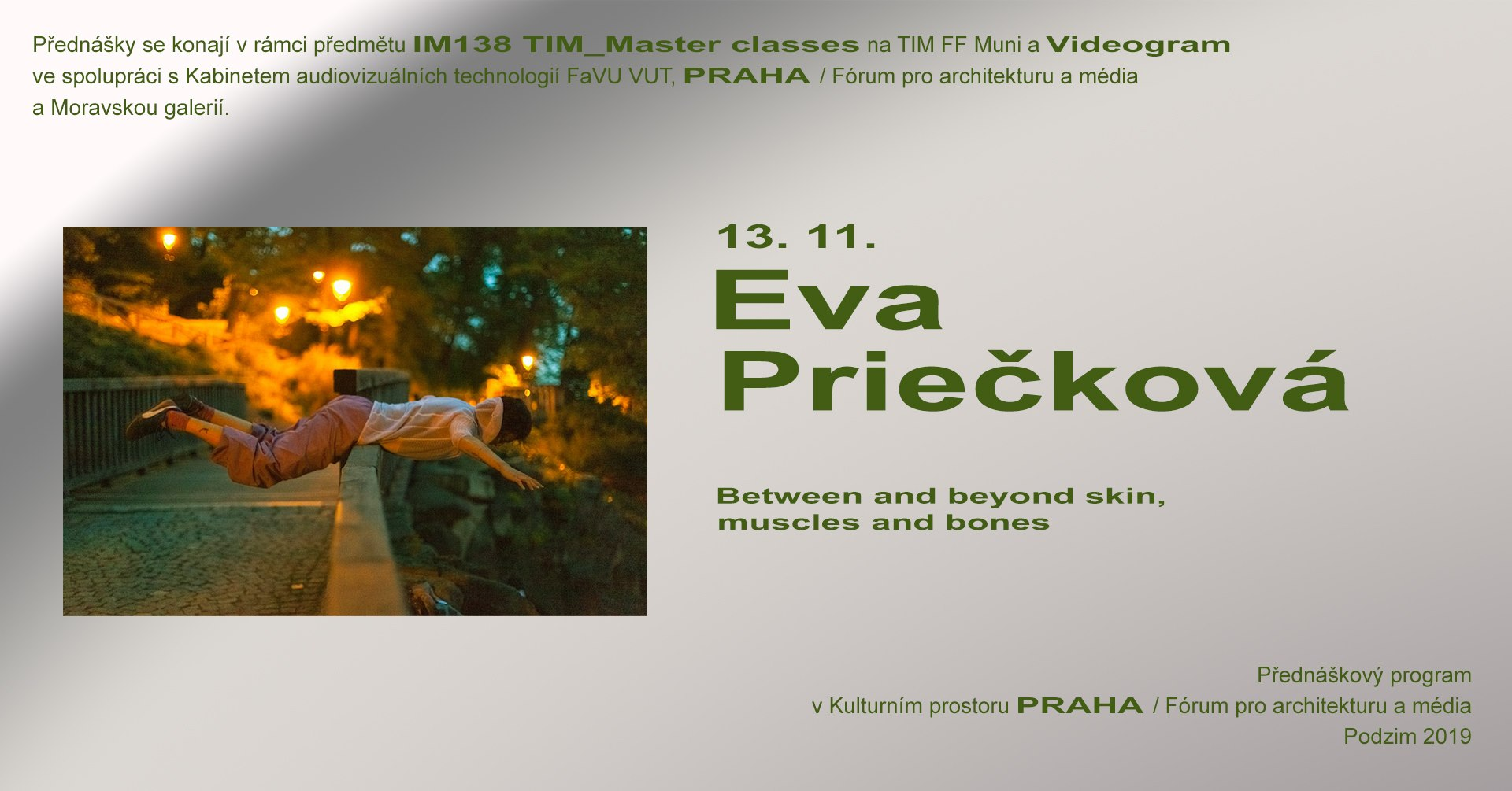 ST / 13.11. / 19.00 / TIM Master class / Videogram 93: Eva Priečková – Body as landscape of unknown / projekce, diskuse